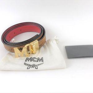 MCM Visetos Coated Canvas Reversible Belt SZ 38